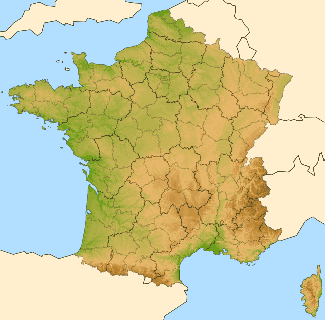 Carte France Geo Relief C2 large map