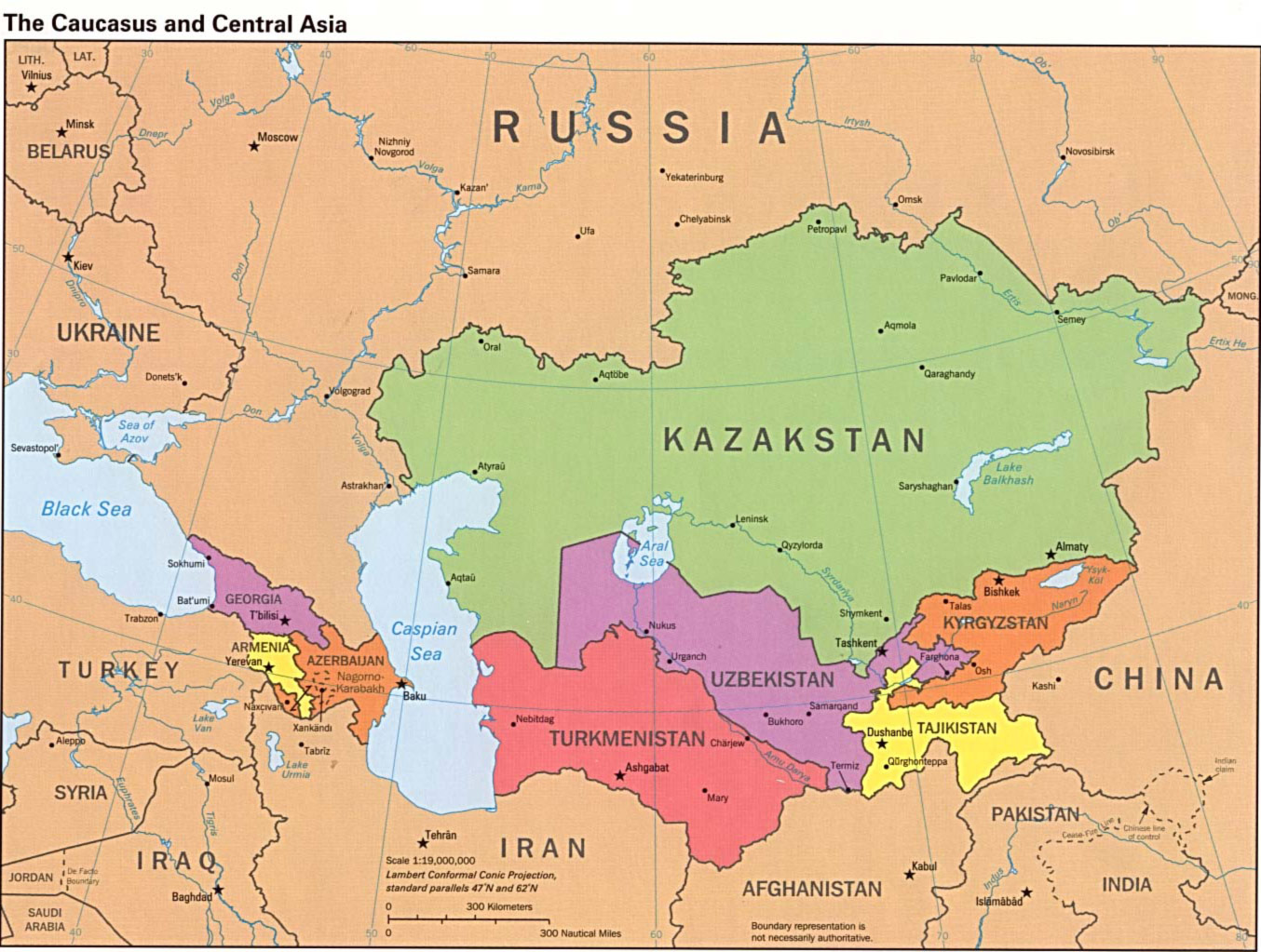 Caucasus Central Asia Political 1995 large map