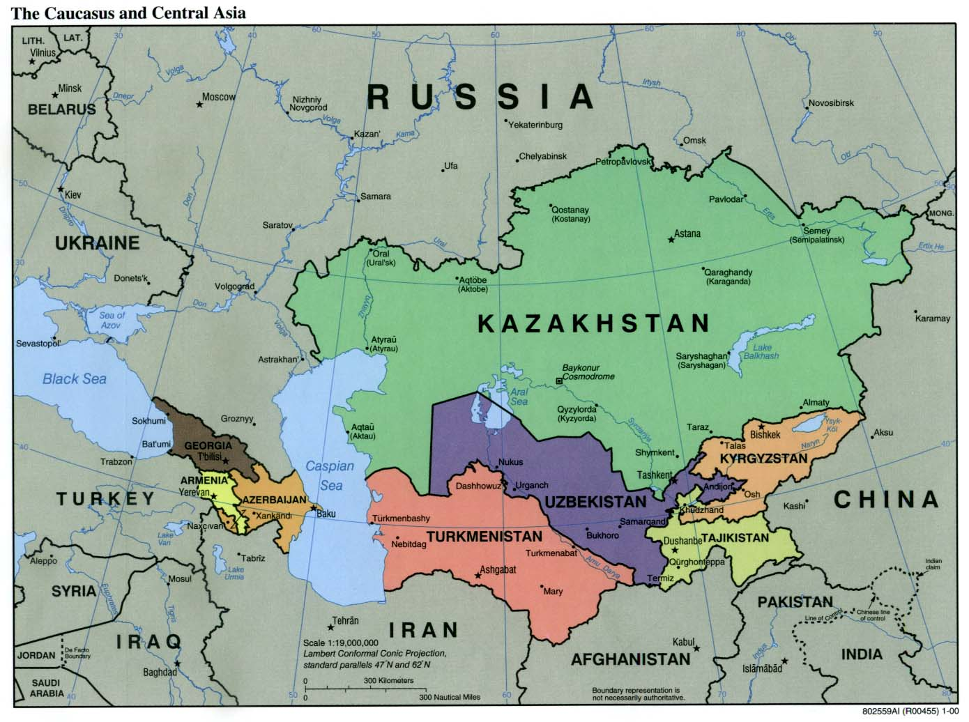 Caucasus Central Asia Political Map 2000 6 large map