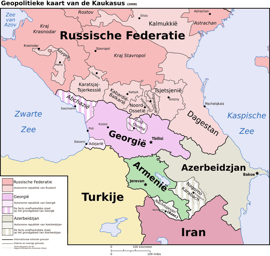 Caucasus Political Nl 2 large map