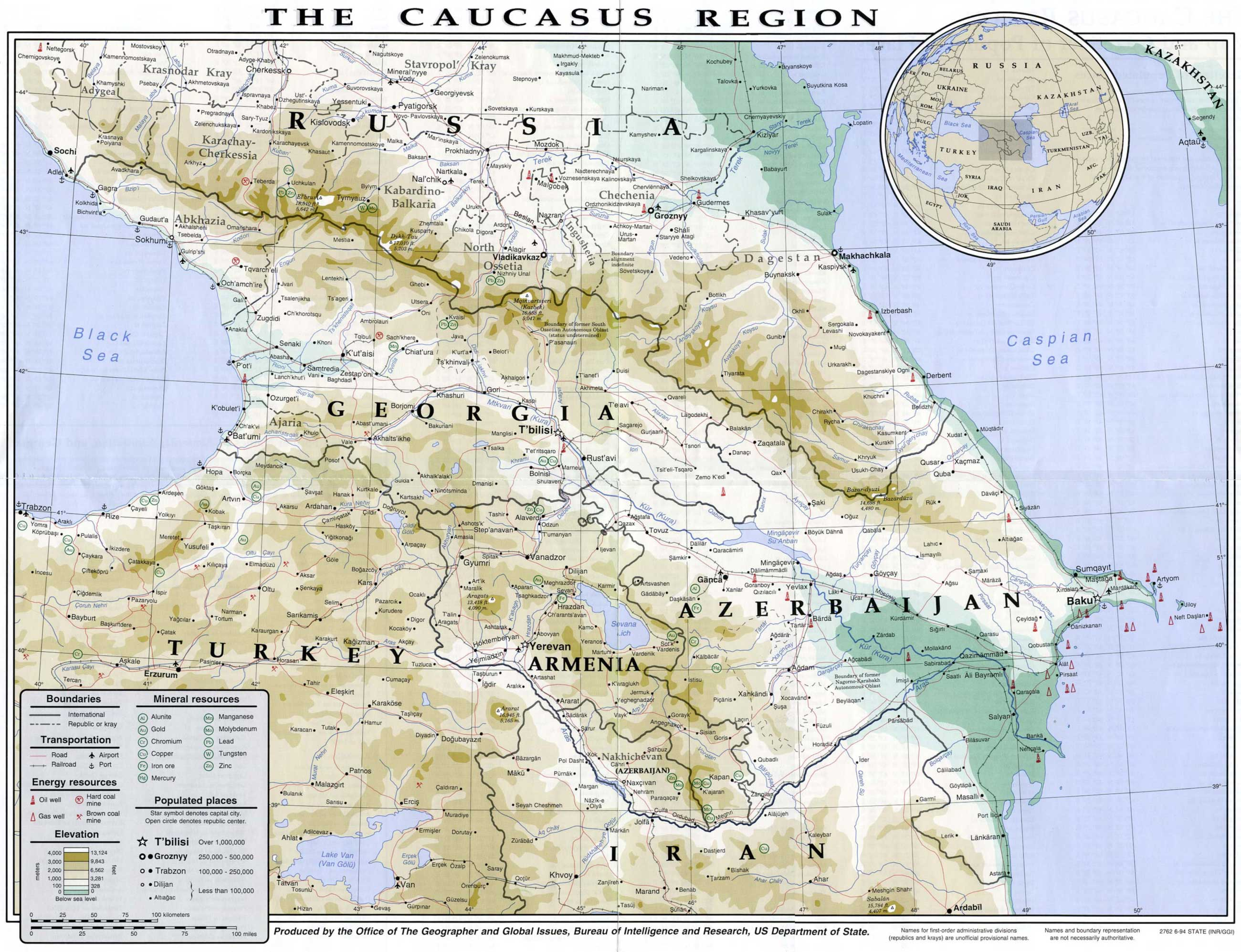 Caucasus Region 1994 6 large map