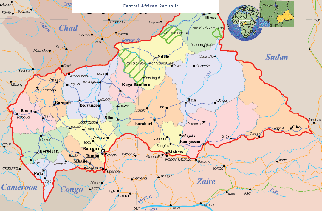 Central Africa Political Map Mapsofnet - Central africa map