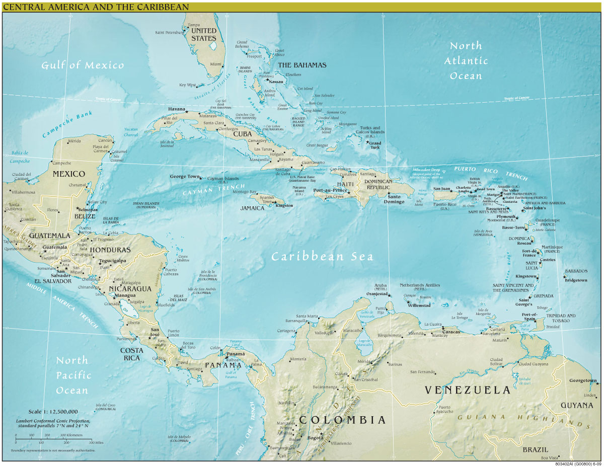 Central America Continent Physical Mapsofnet