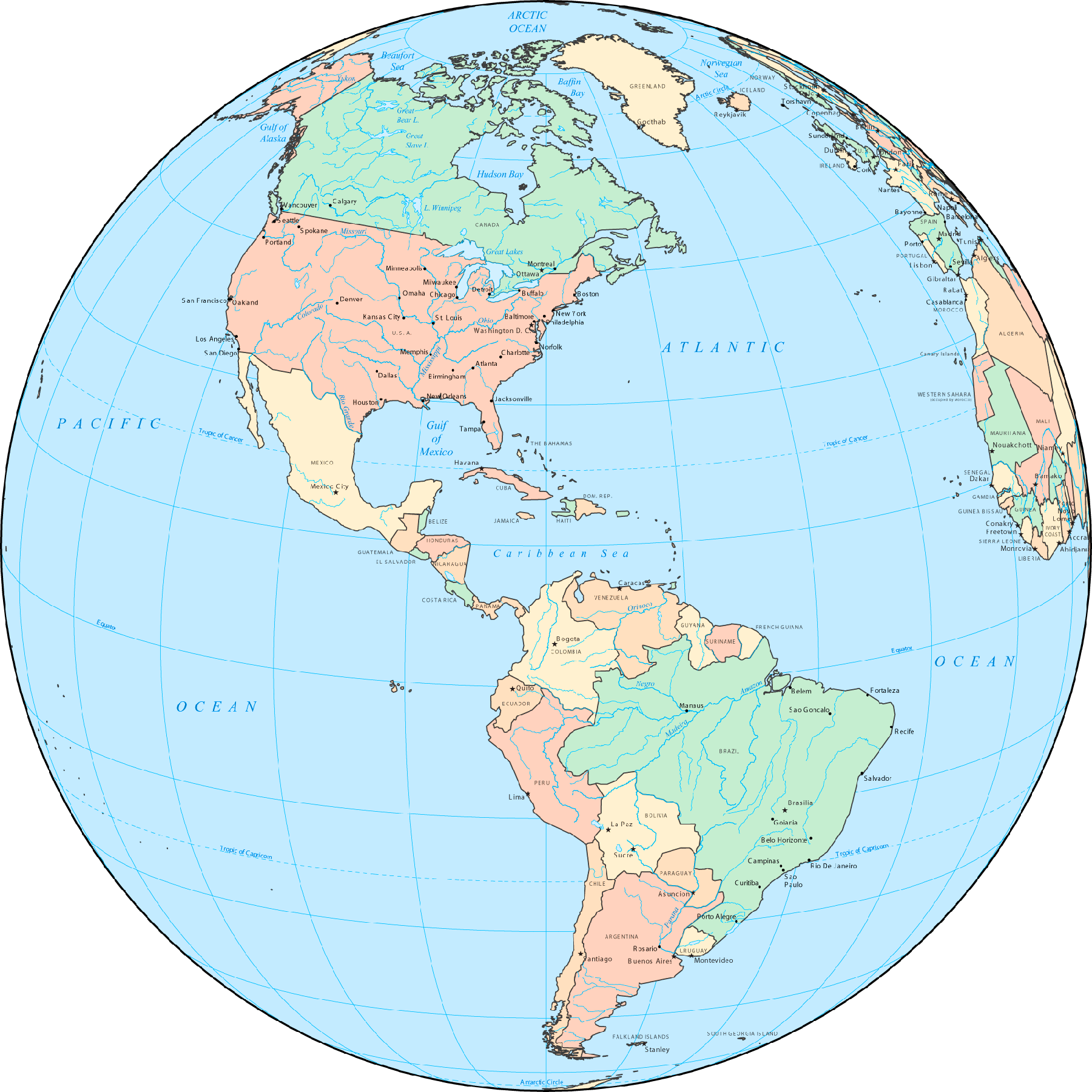 Central America Globe large map