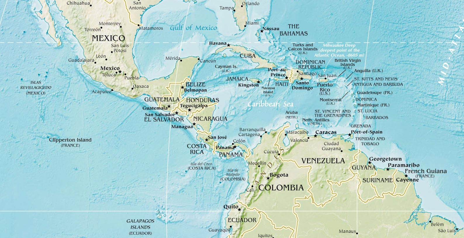 Central America Physical • Mapsof.net