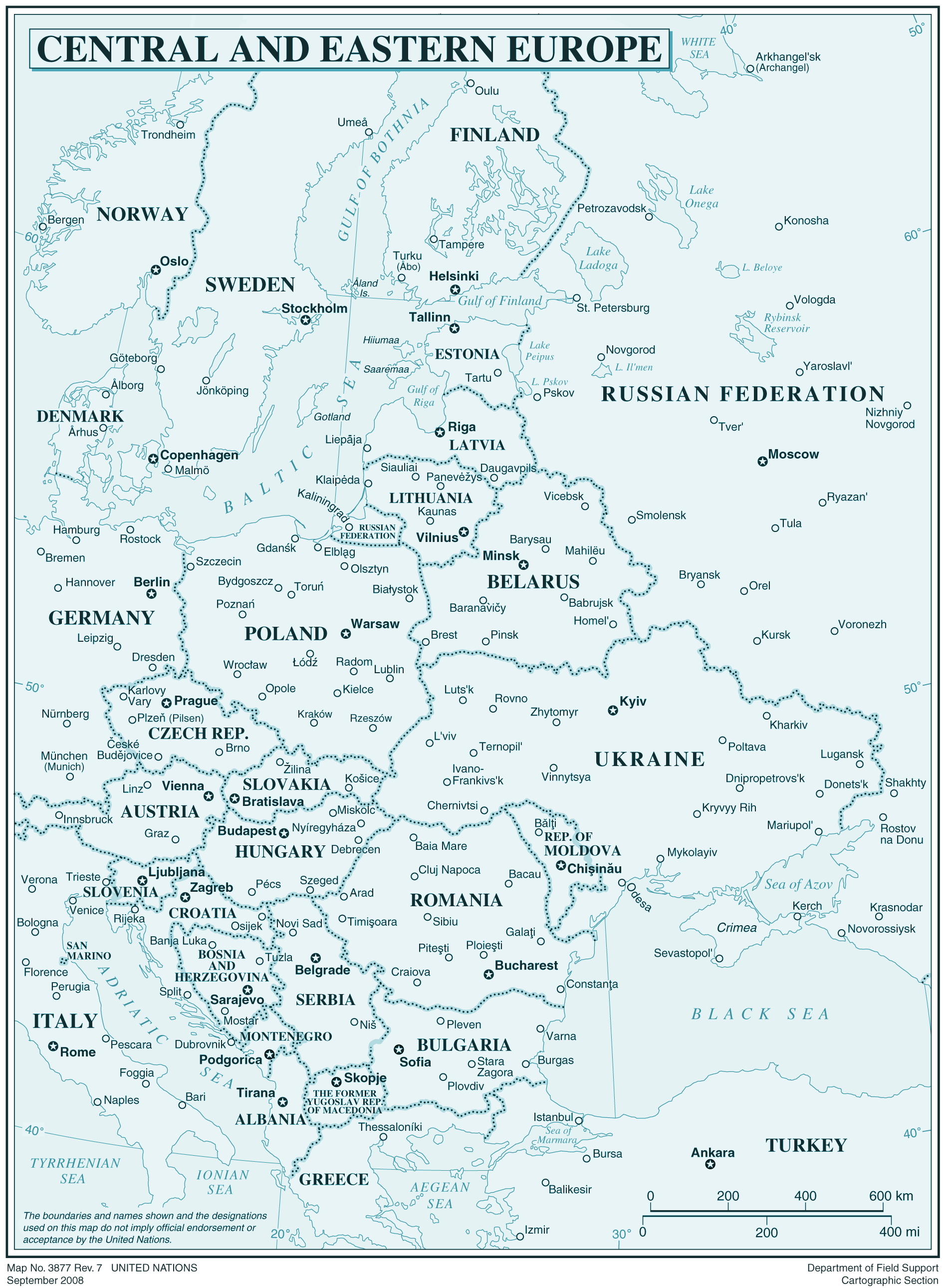Central And Eastren Europe large map