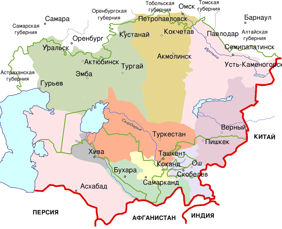 Central Asia 1900 2 large map