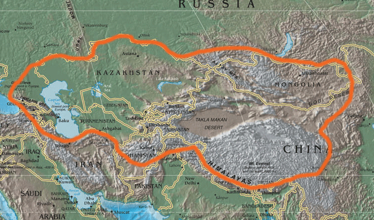 Central Asia Physical Political Cia large map
