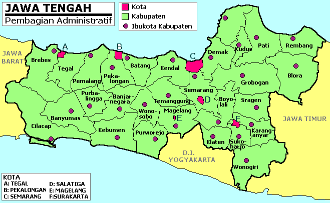 Central Java Province large map