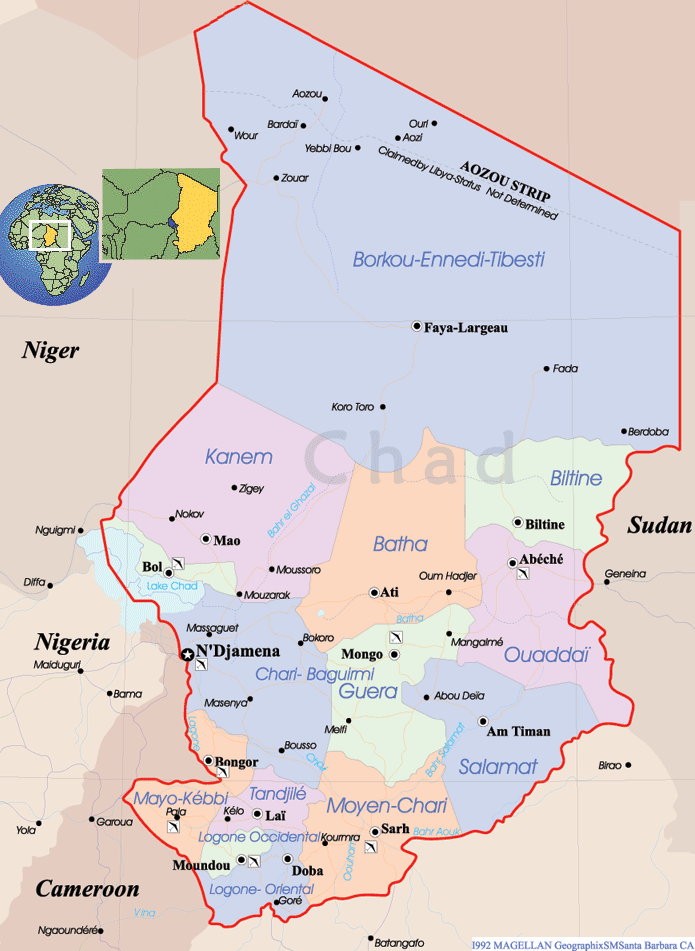 Chad Political Map large map