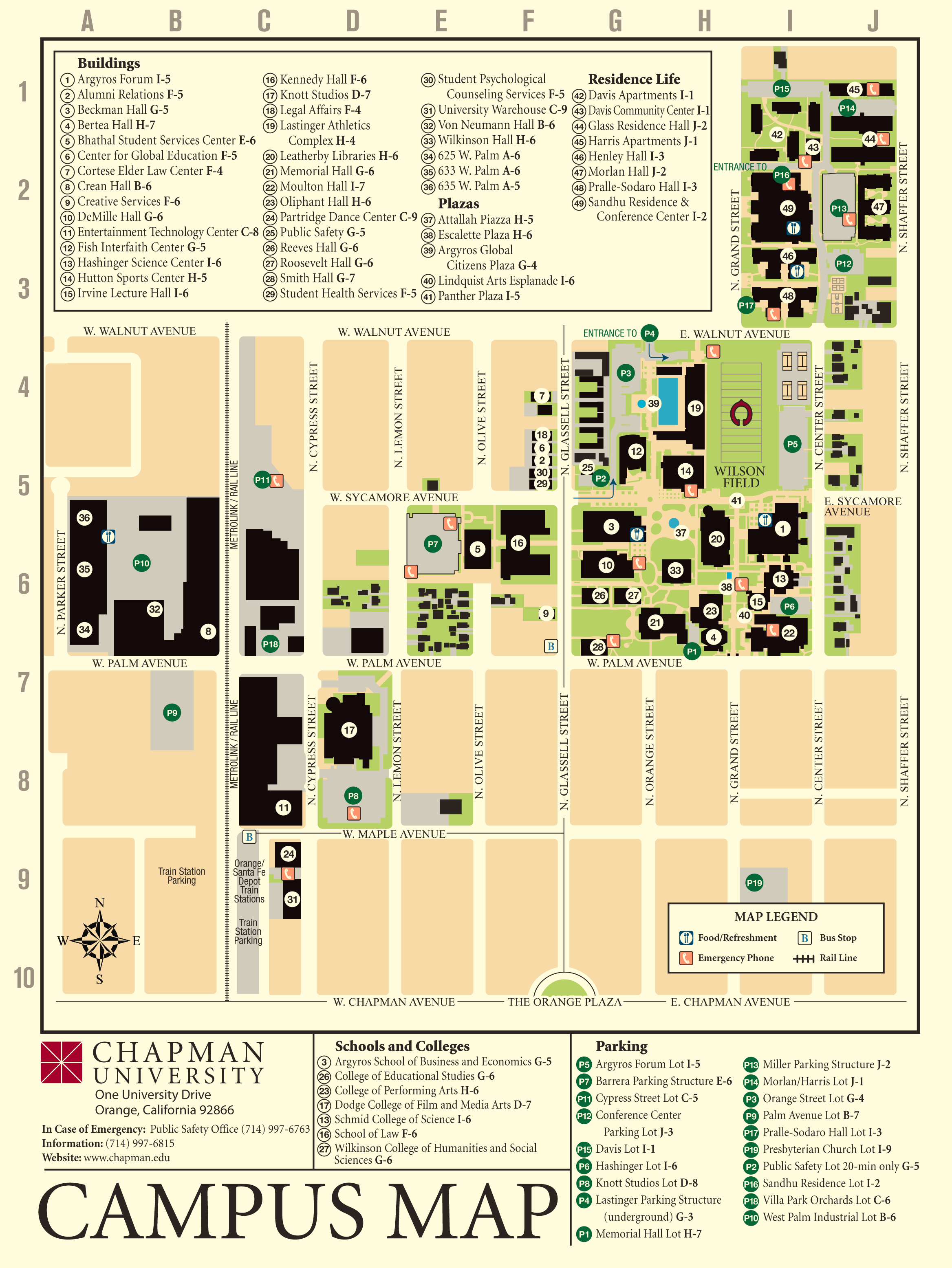 Chapman University Campus Map large map