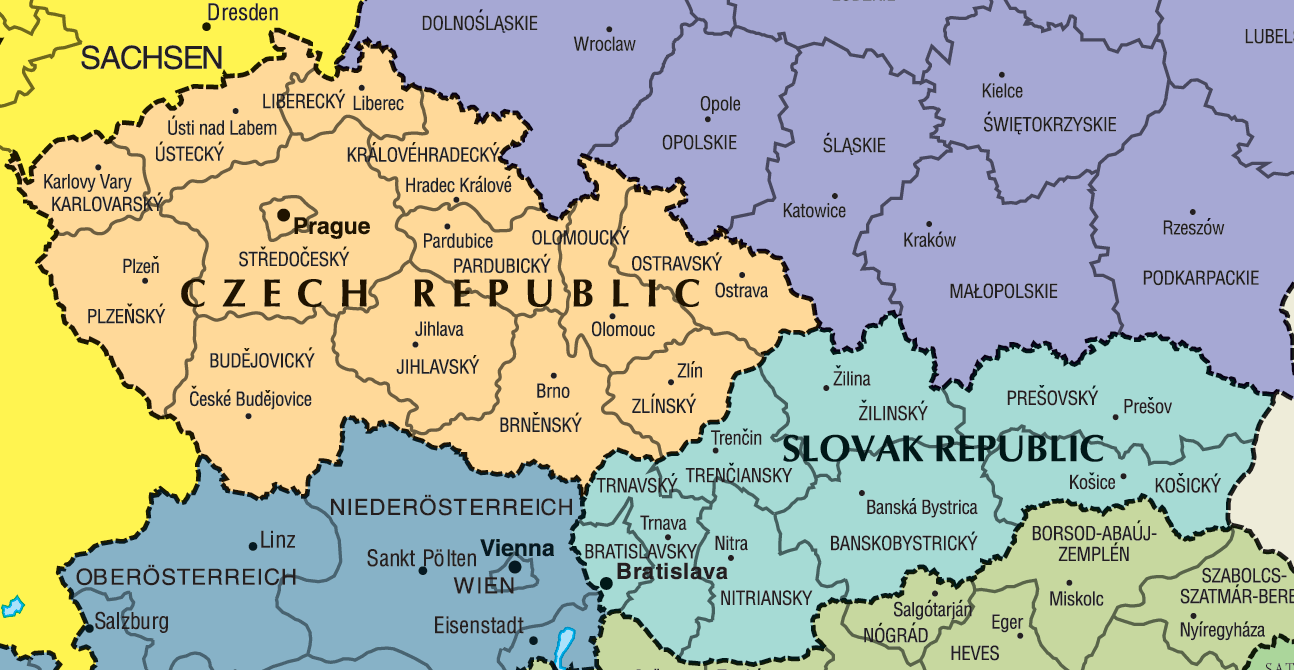 Check Republic Slovakia Map Large
