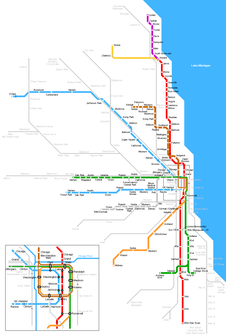 Chicago Metro Map • Mapsof.net