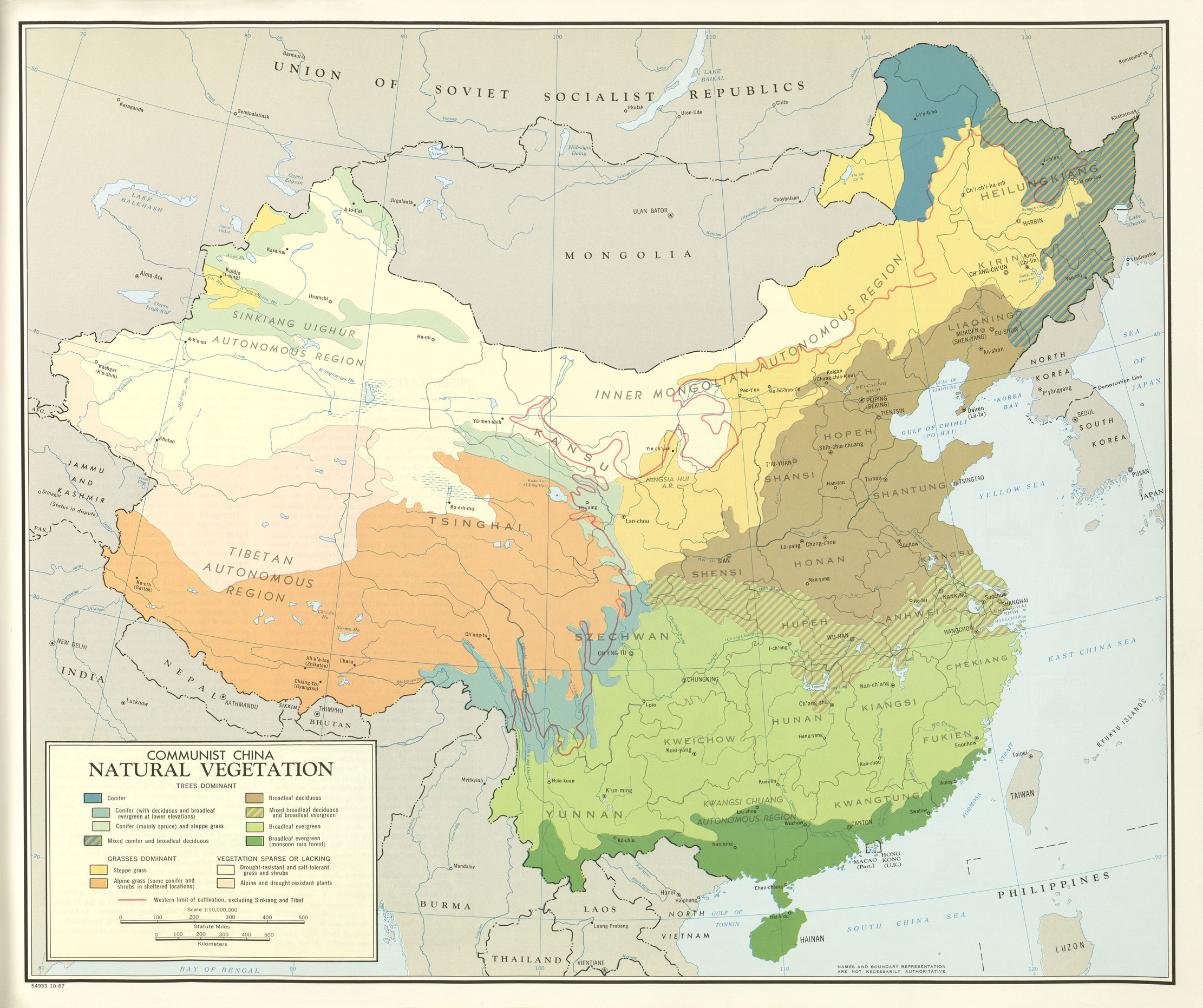 China Natural Vegetation Map large map