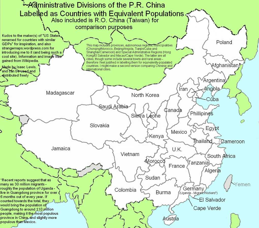 China Provinces Populations large map