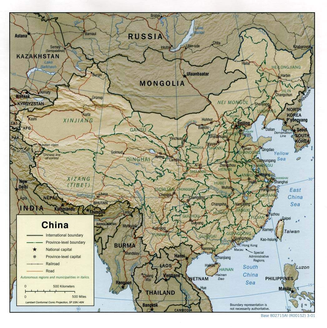 China Relief 2001 large map