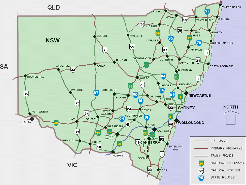 cities map of new south wales new south wales maps