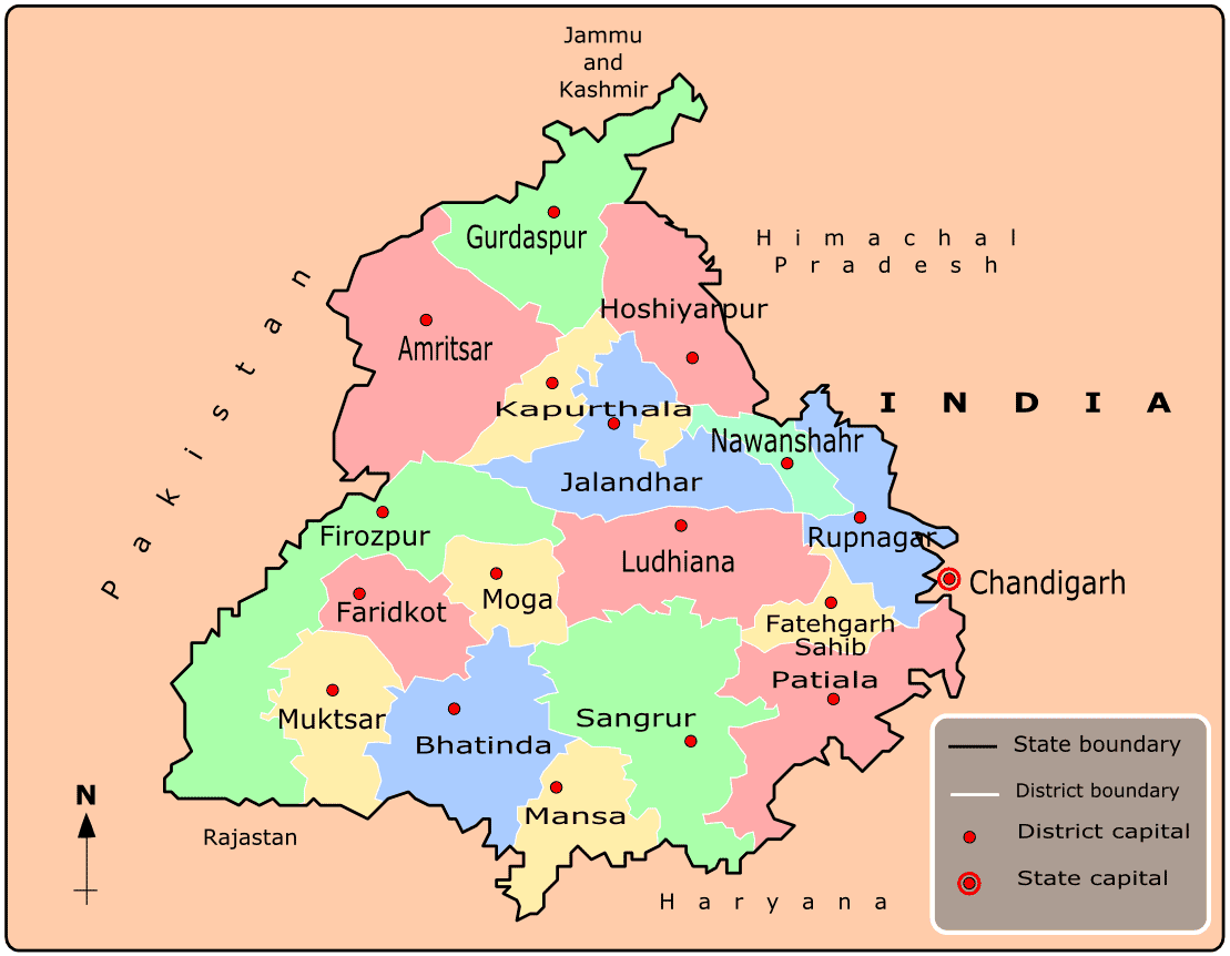 Cities Map of Punjab large map