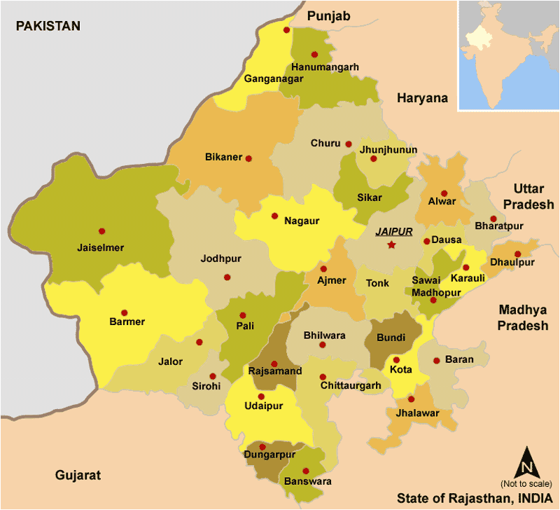 Cities Map of Rajasthan large map