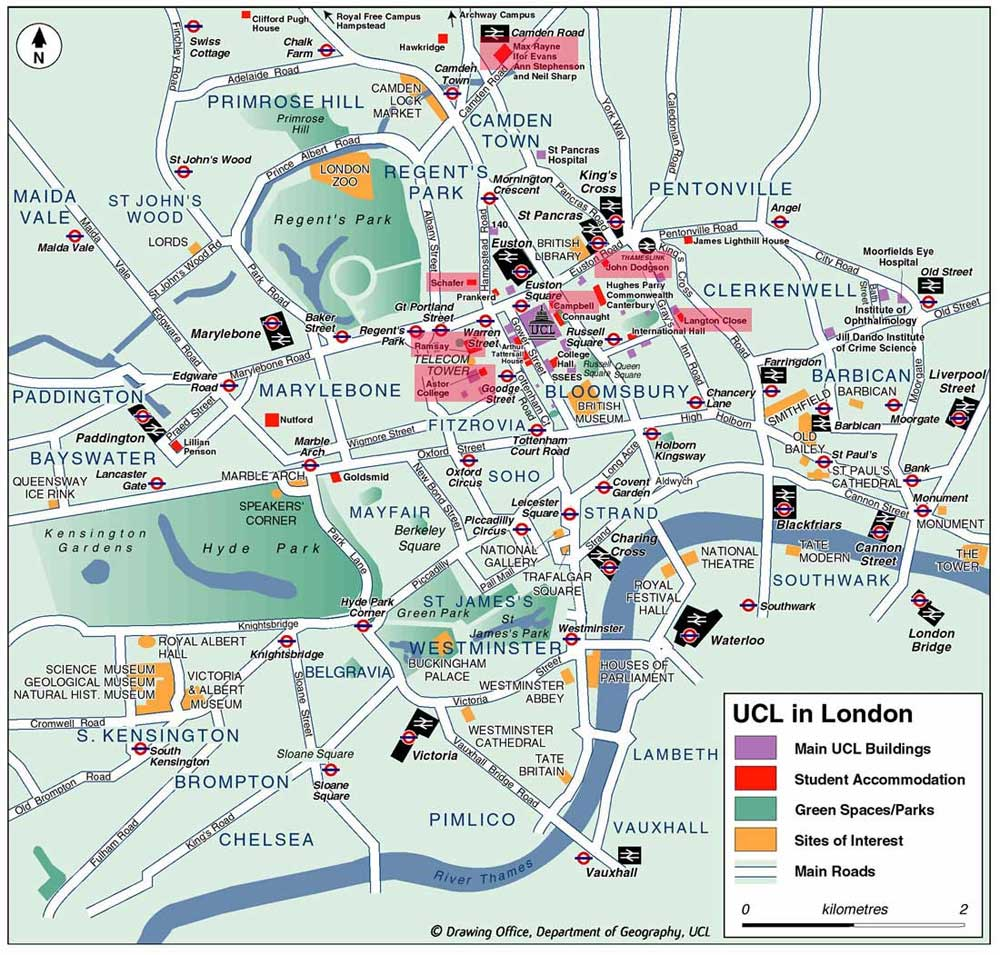 City Center Map of London large map