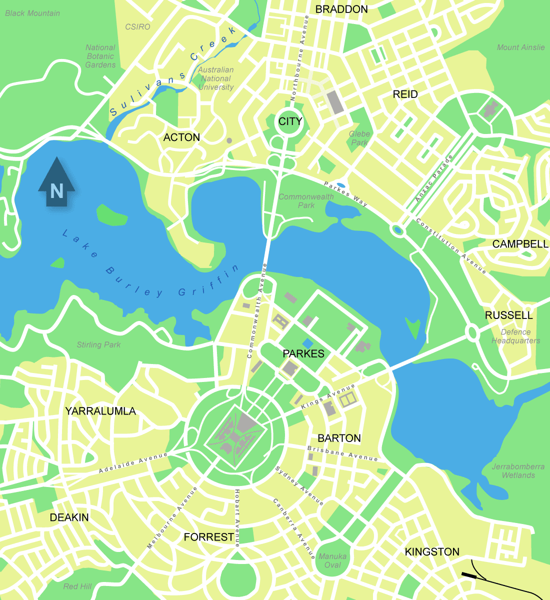 City Central Map of Canberra large map