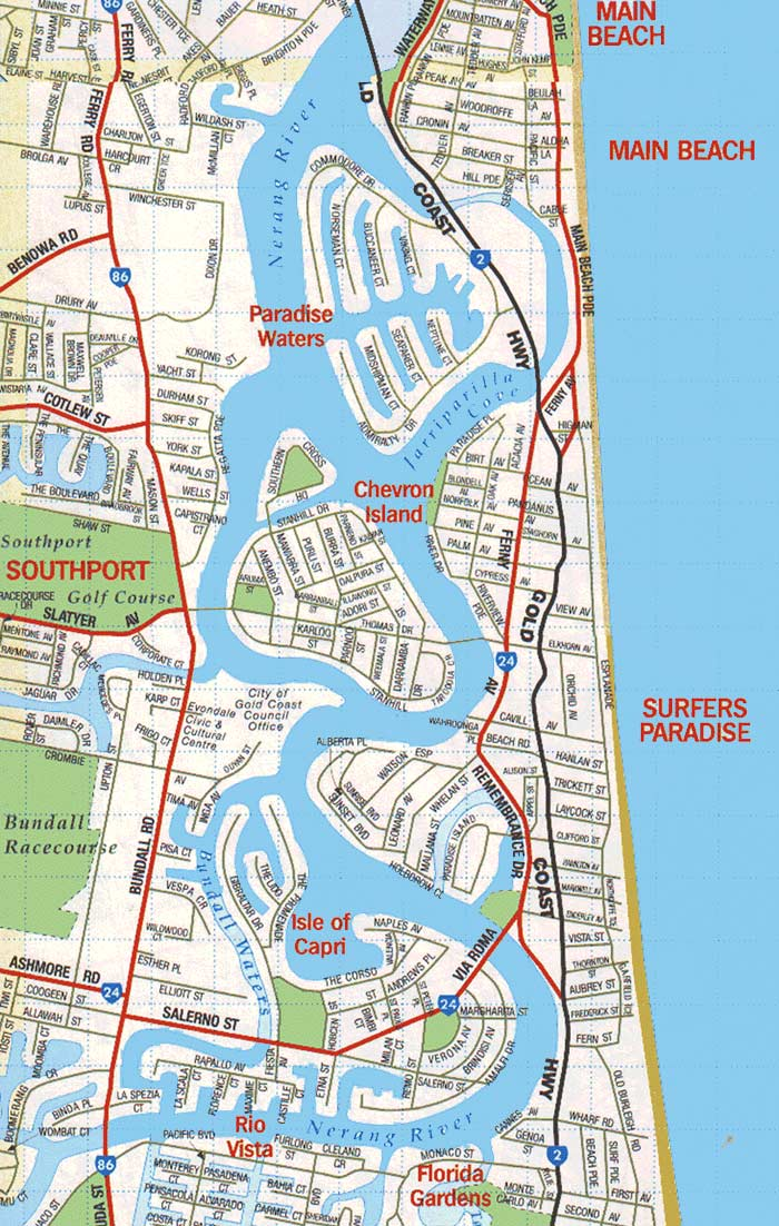 City Map Gold Coast Mapsofnet
