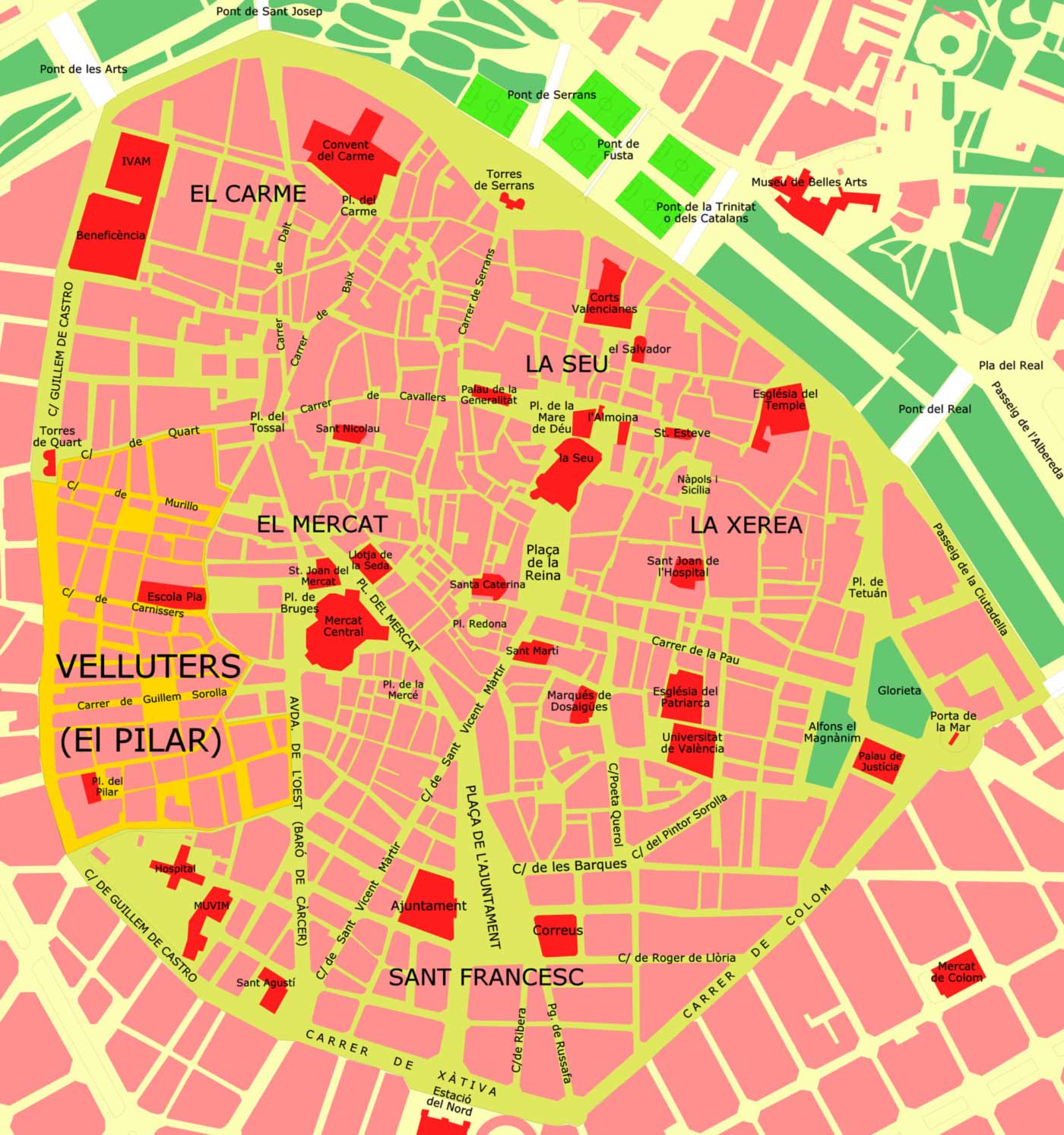 Ciutat Vella Velluters large map