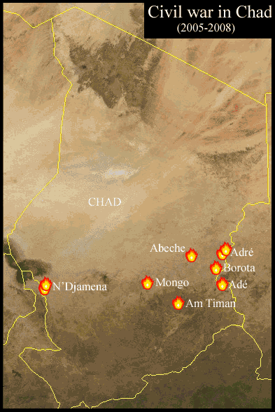 Civil War In Chad large map