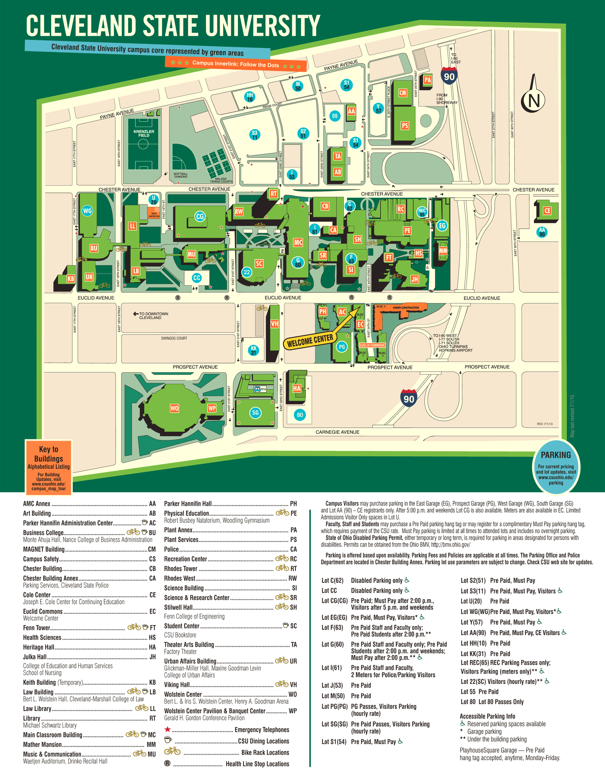 Cleveland State University Campus Map • Mapsof.net