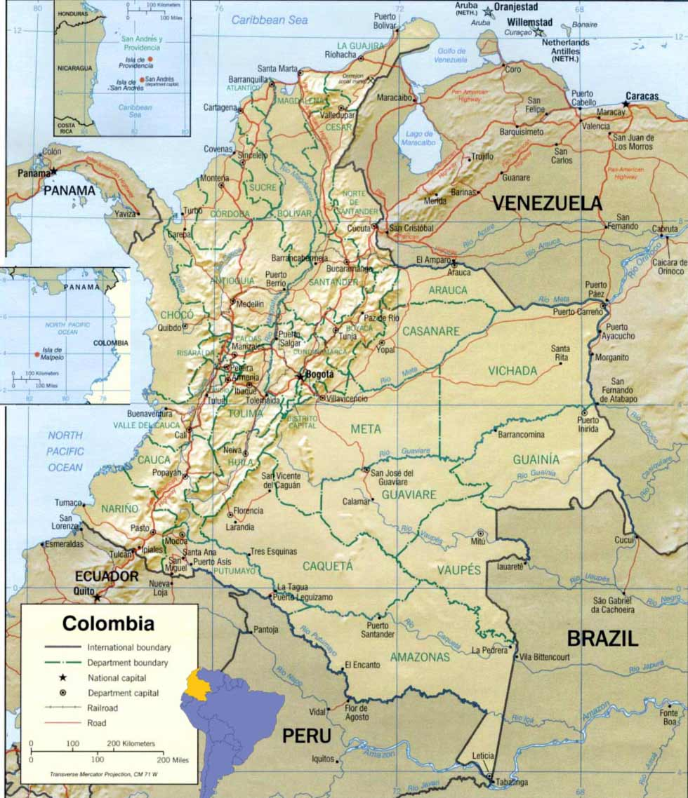 Colombia Map large map