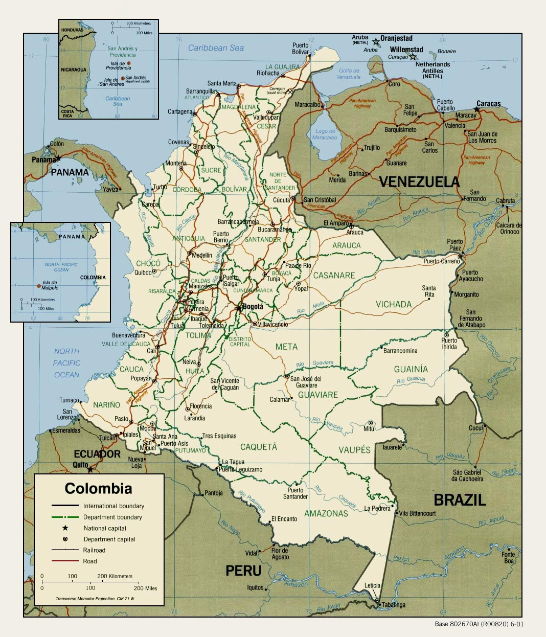 Colombia Political Map 2001 large map