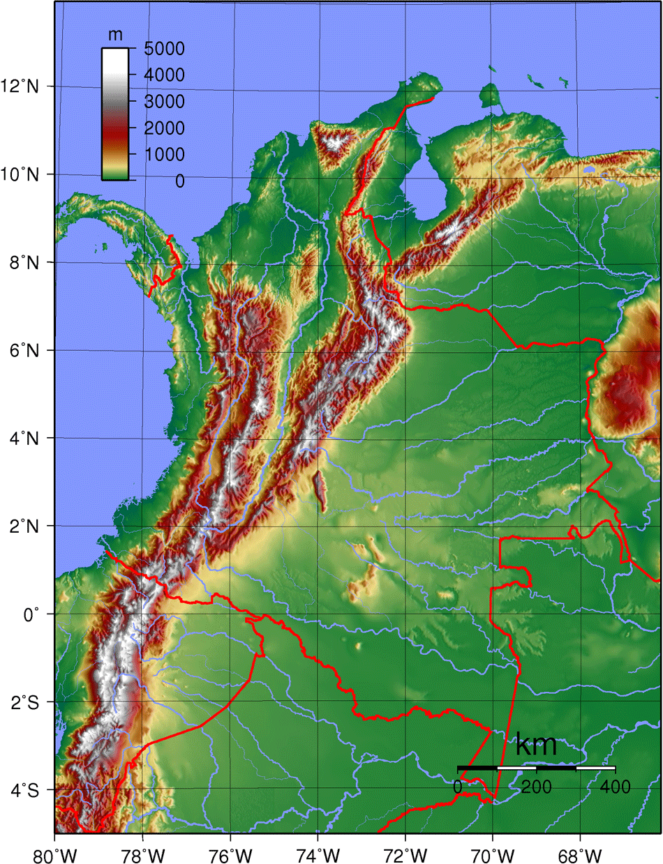 Colombia Topography large map