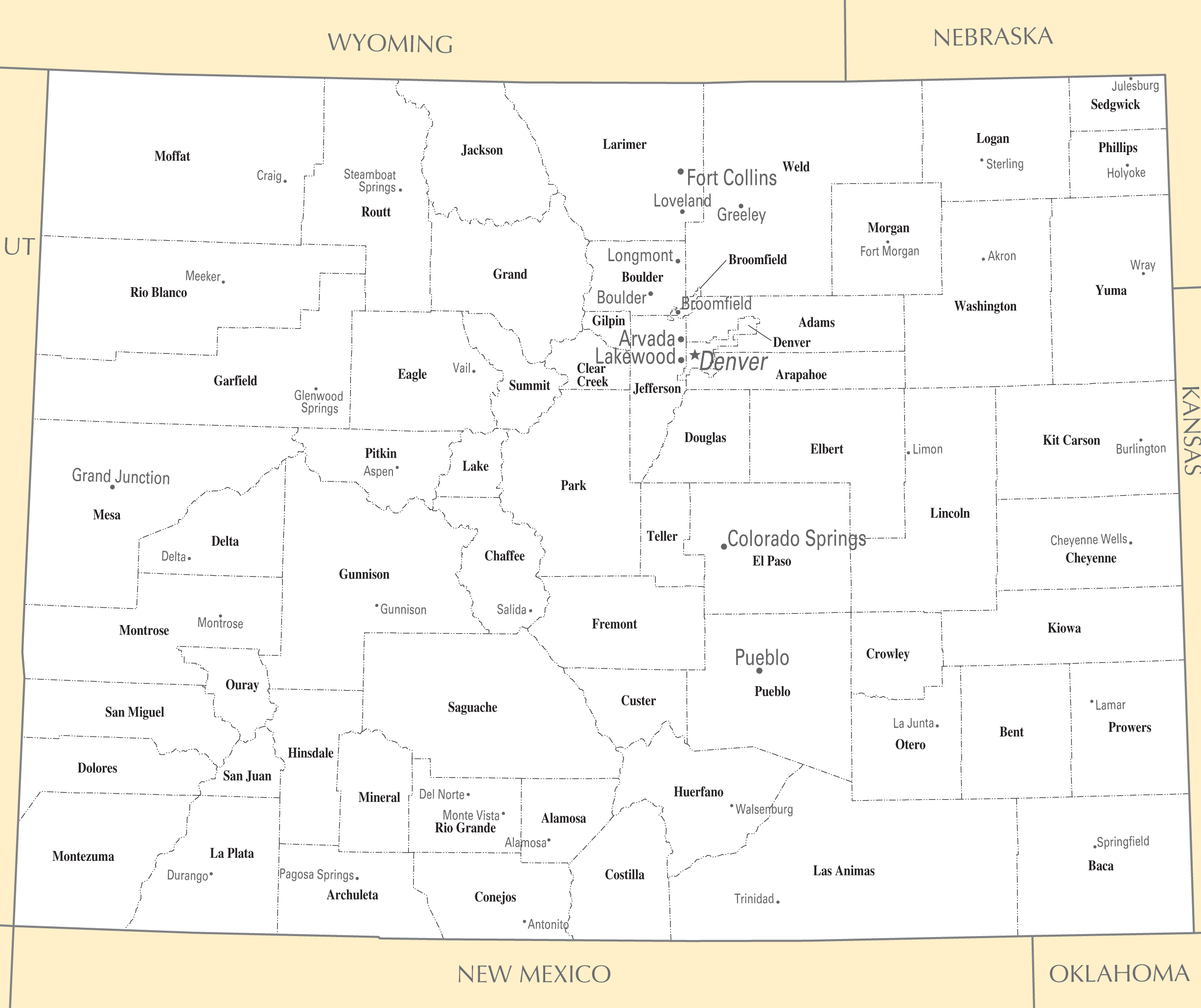 Colorado Cities And Towns large map