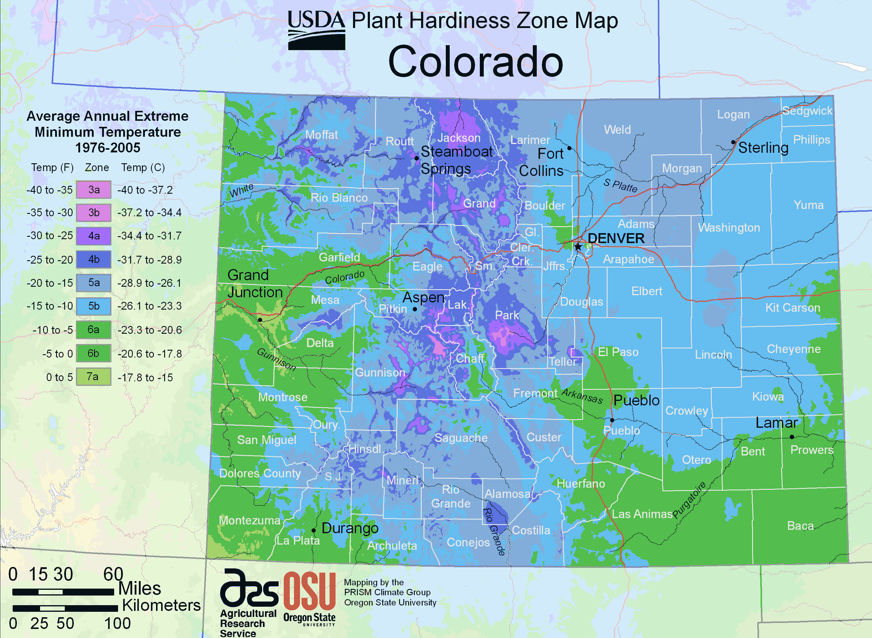 Colorado Plant Hardiness Zone Map large map