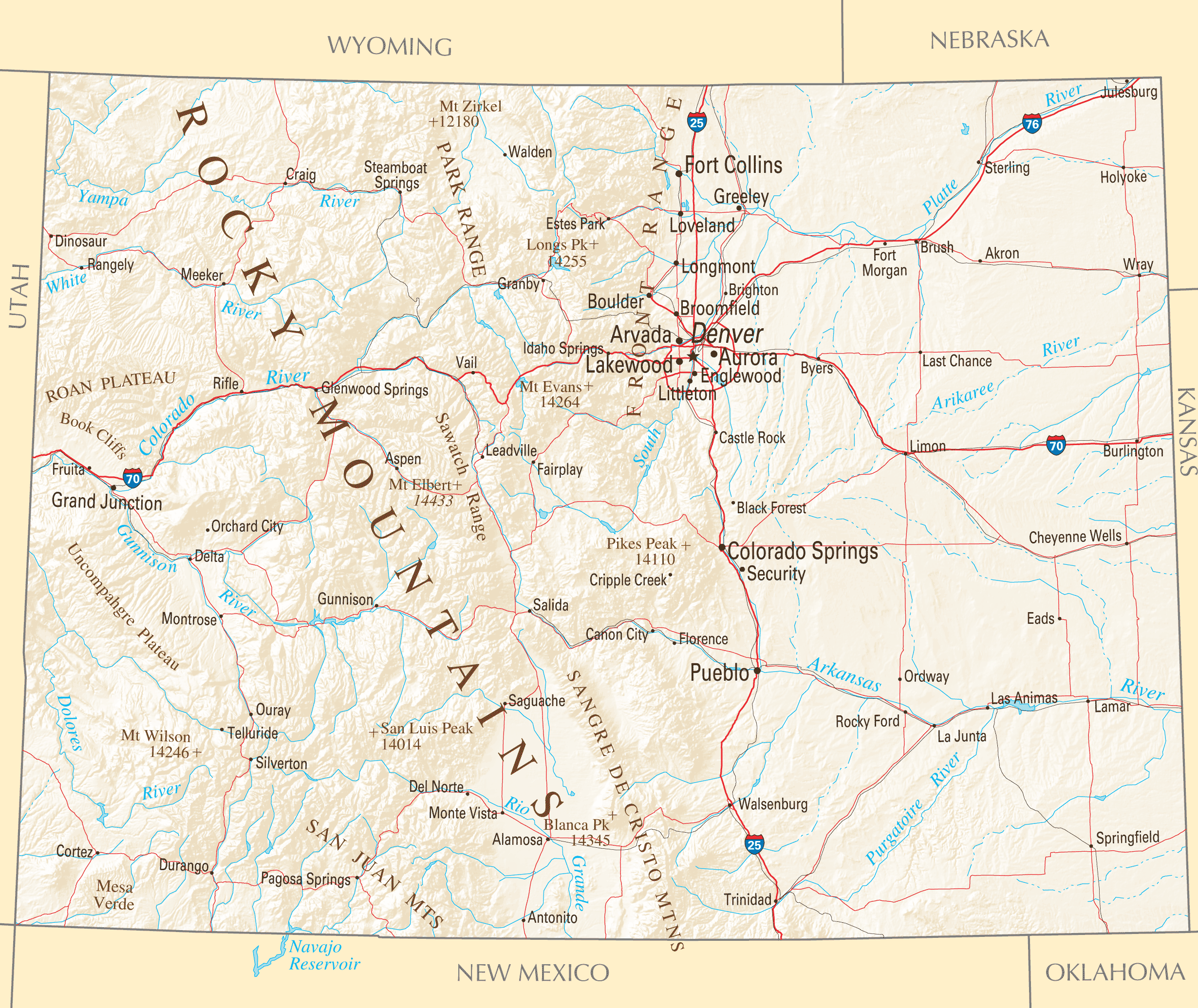 Colorado Reference Map Mapsofnet - Map for colorado