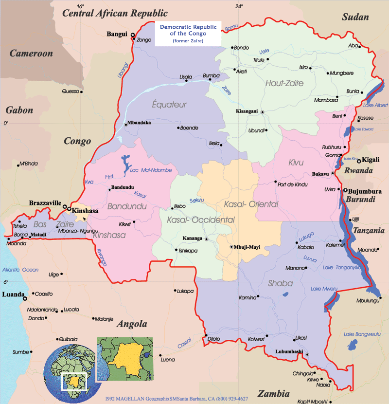 Congo Political Map large map