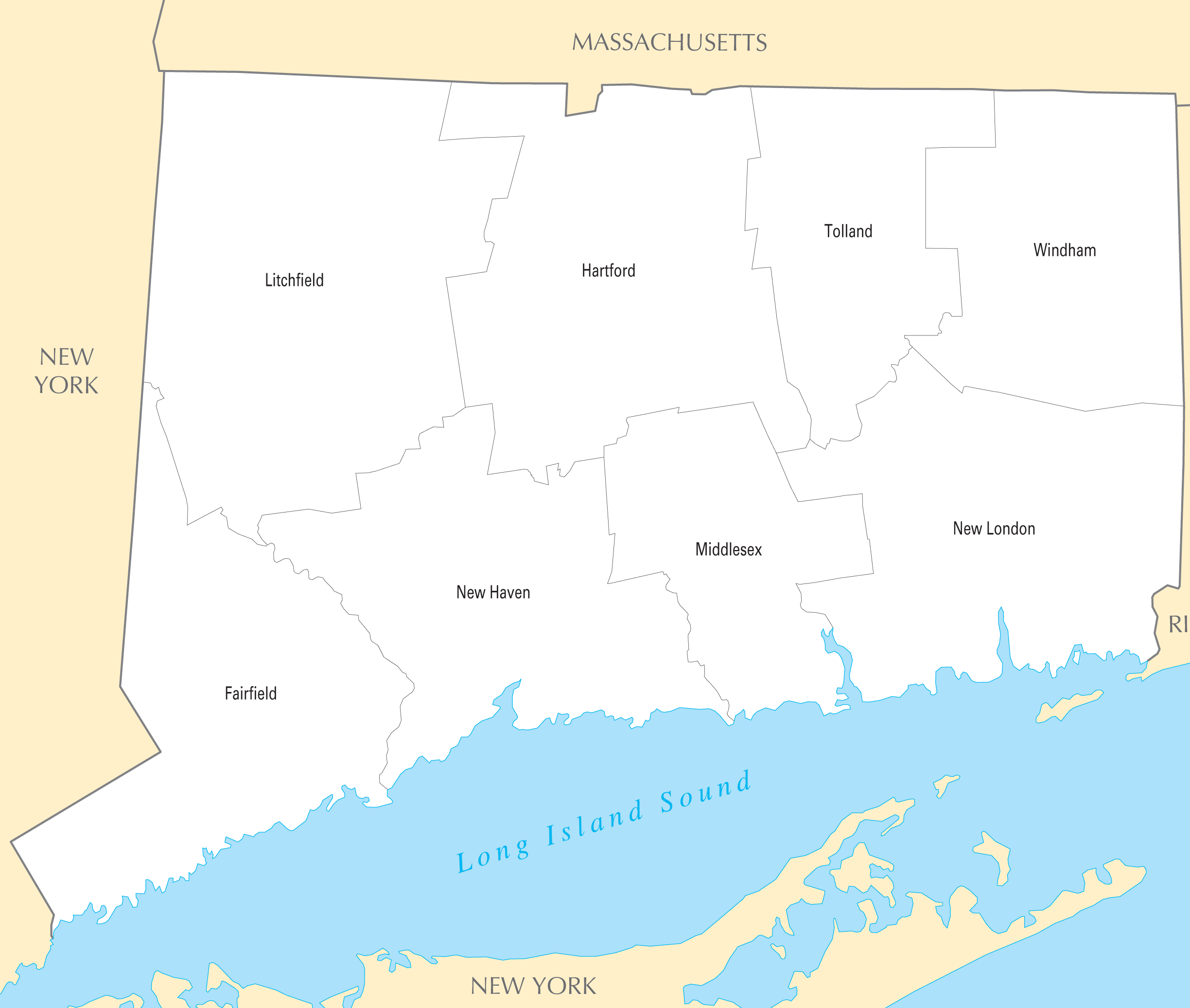 Connecticut County Map Mapsofnet - Connecticut county map