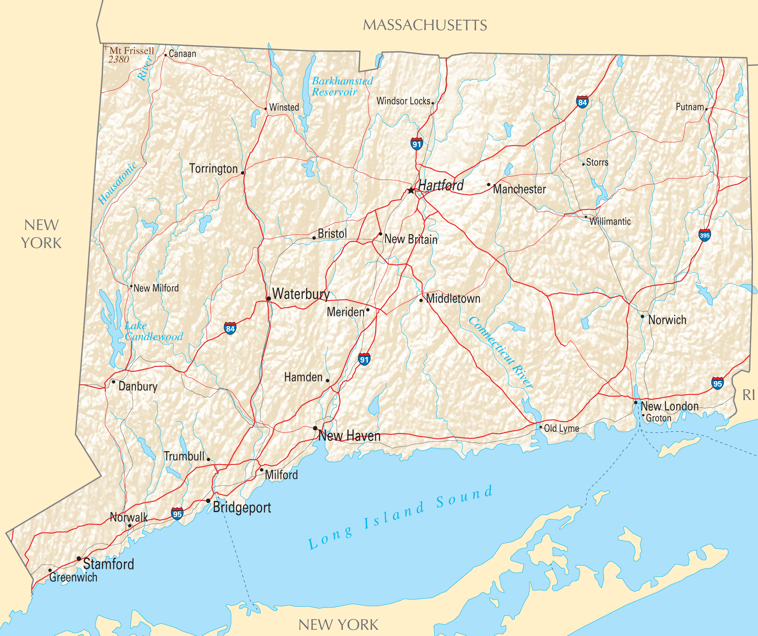Connecticut Reference Map • Mapsof.net