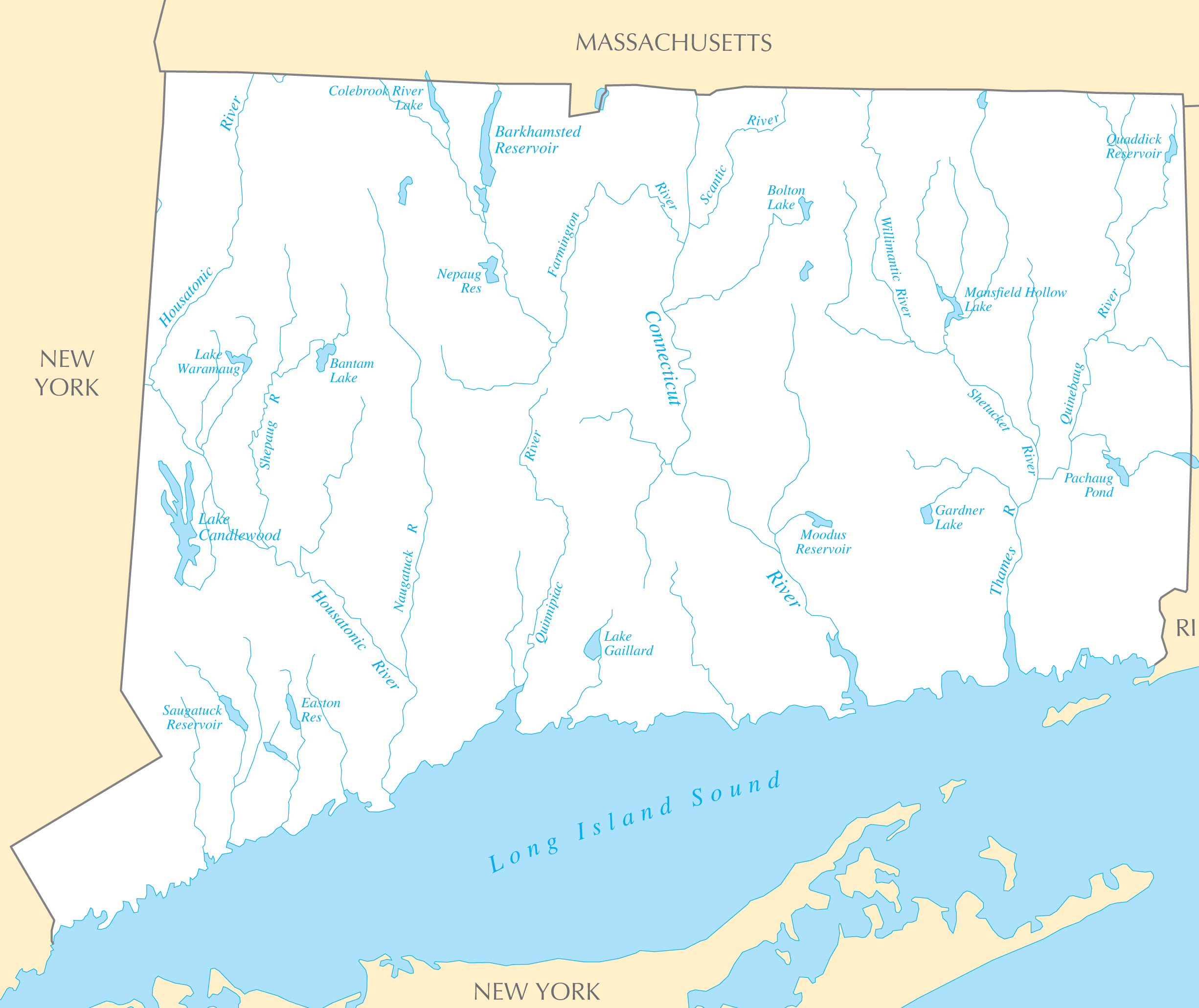 Connecticut Rivers And Lakes • Mapsof.net