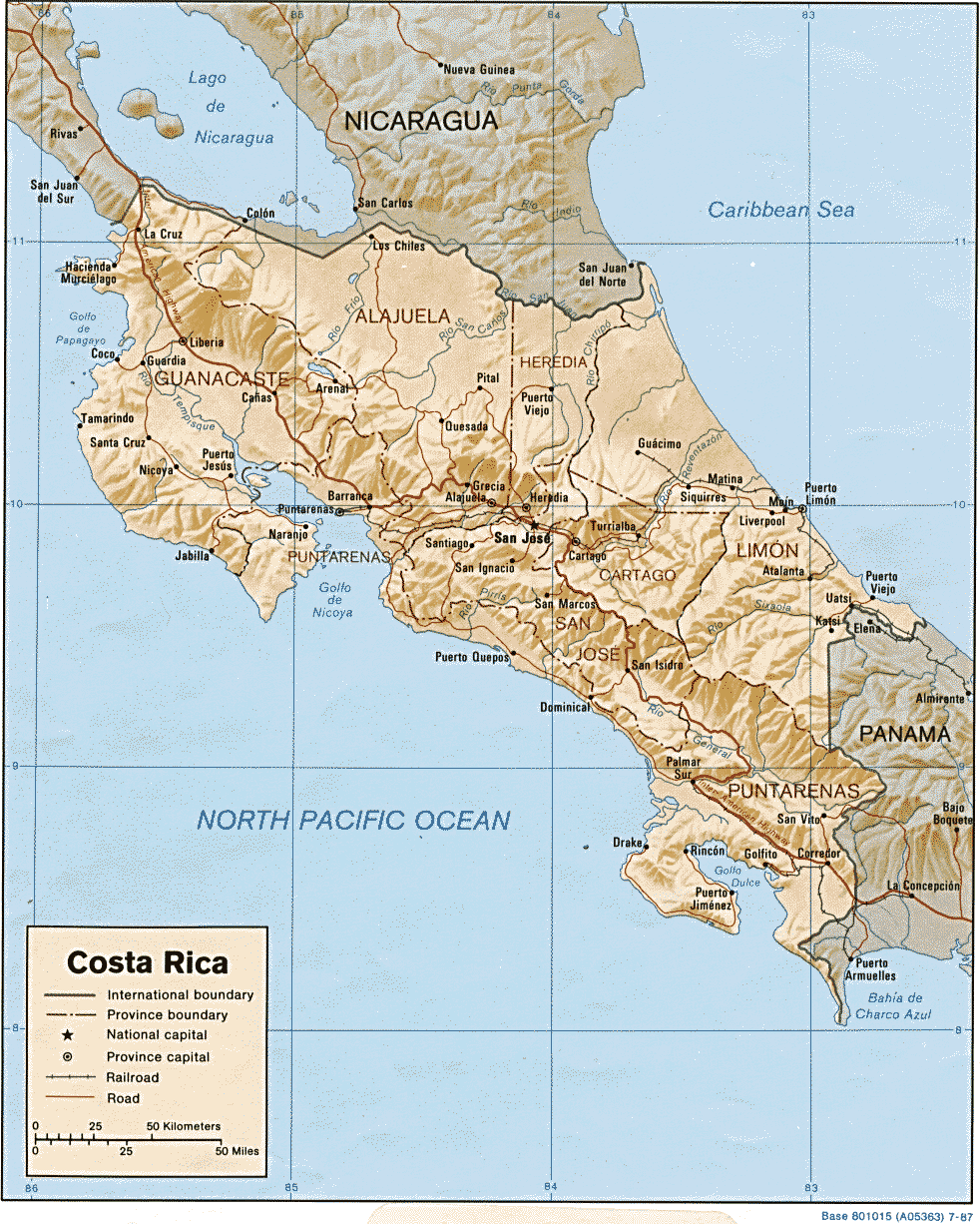Costa Rica Map Shaded Relief large map