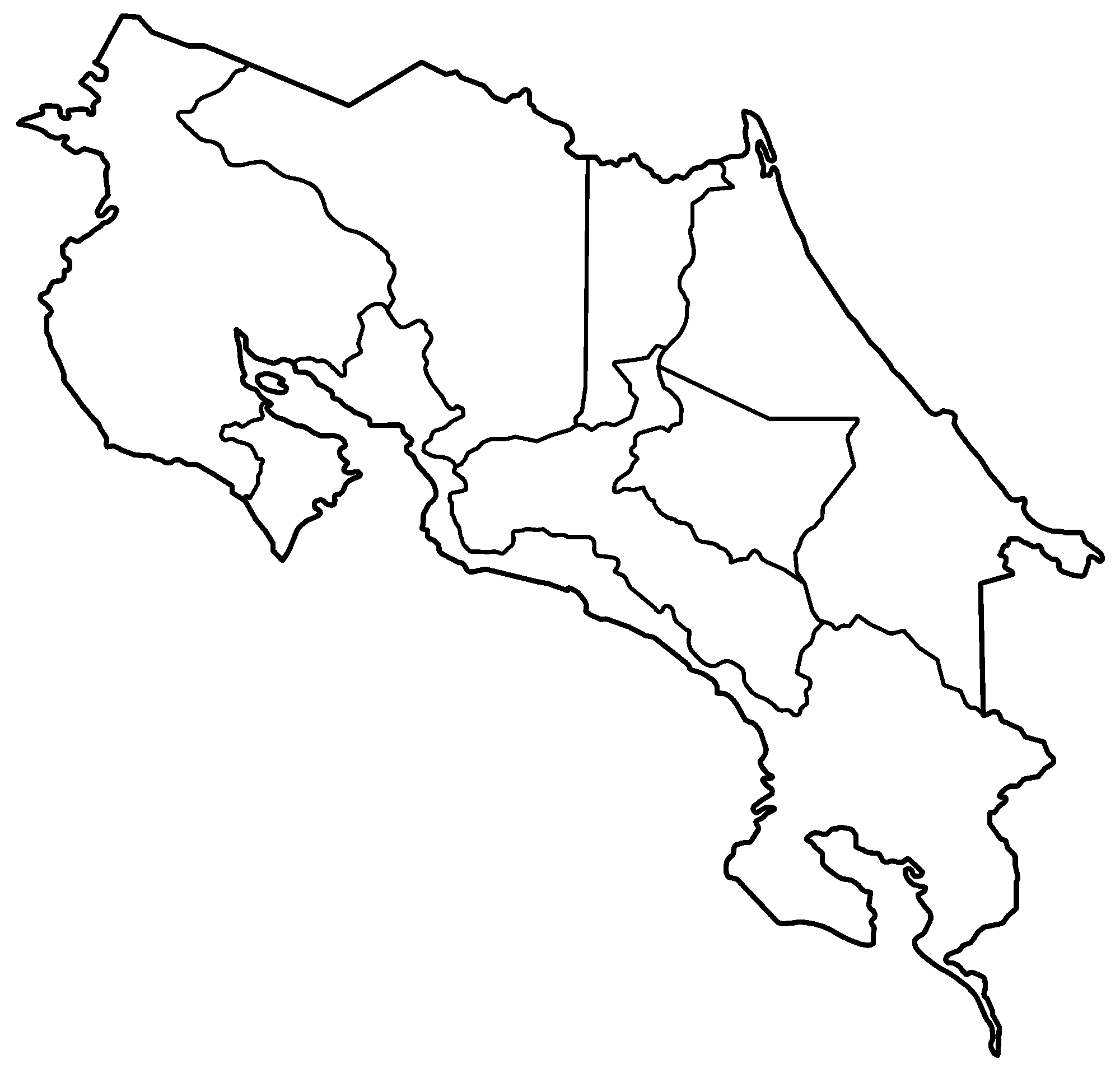 Costa Rica Provinces Blank Mapsofnet - Costa rica regions map