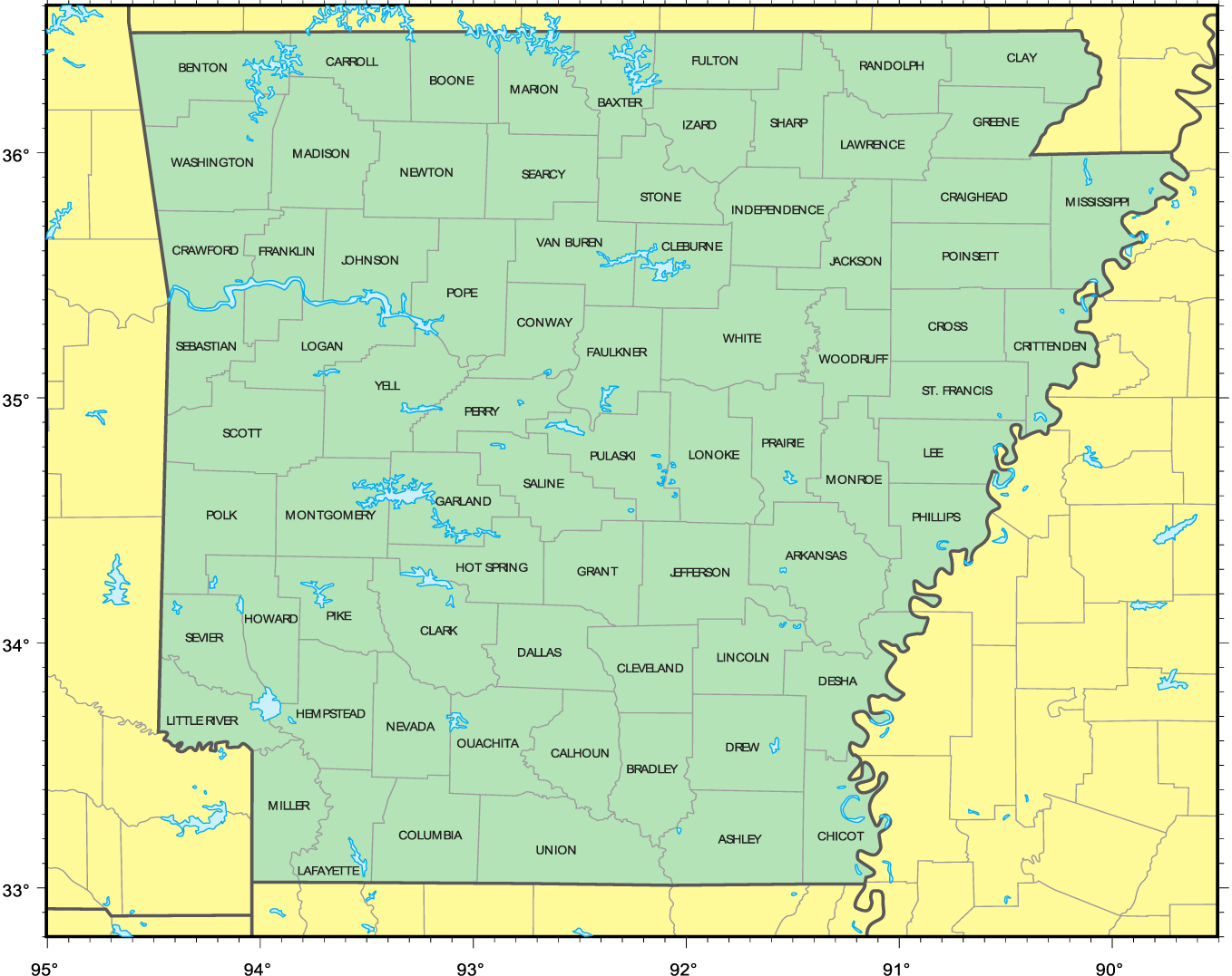 Counties Location Map of Arkansas large map