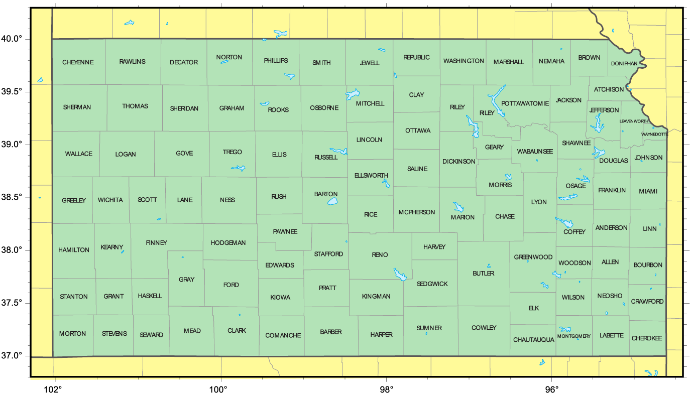 Counties Map Of Kansas Mapsofnet - Kansas map with counties