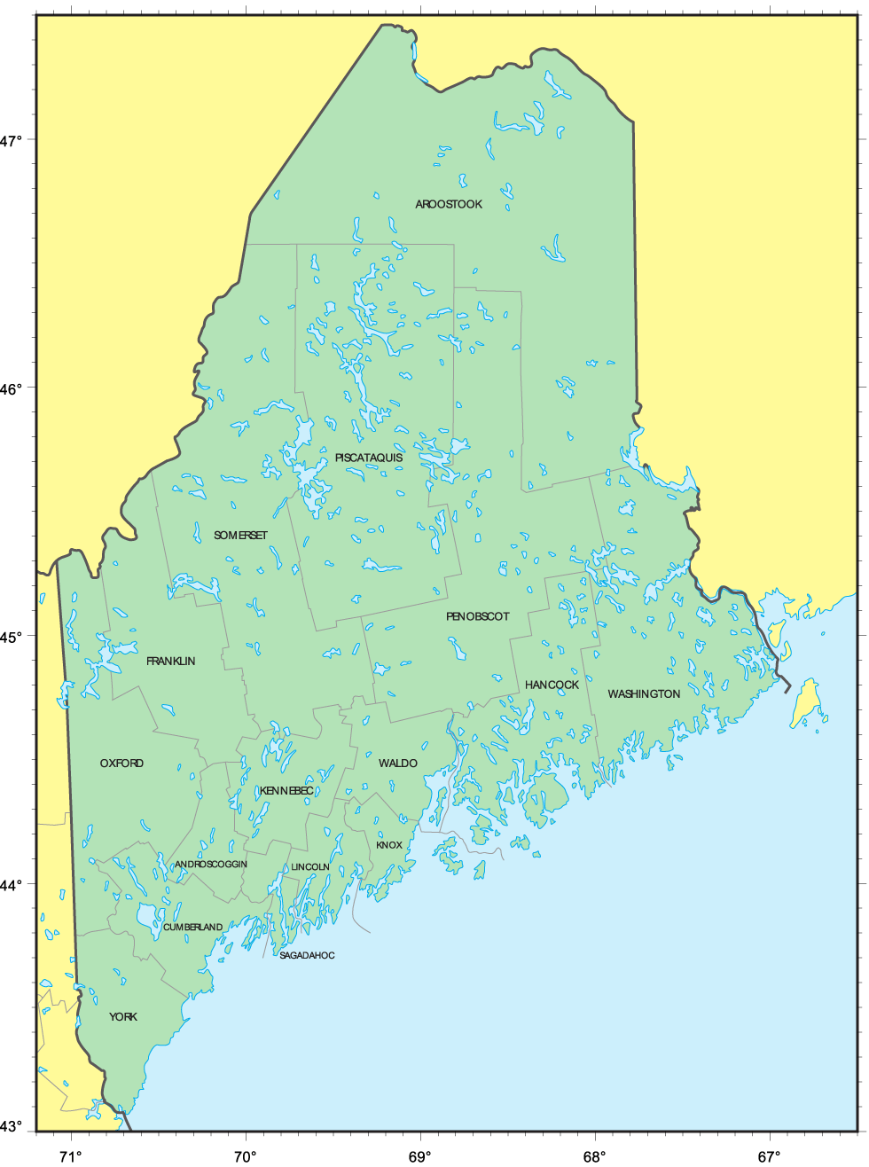 Counties Map of Maine • Mapsof.net