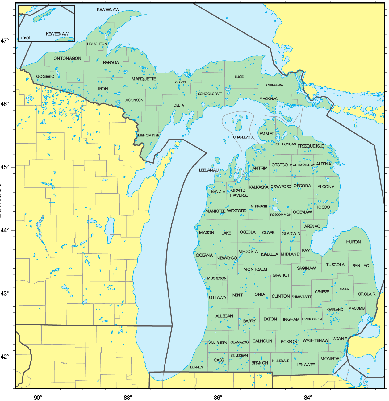 Counties Map Of Michigan Mapsofnet - Michigan county map