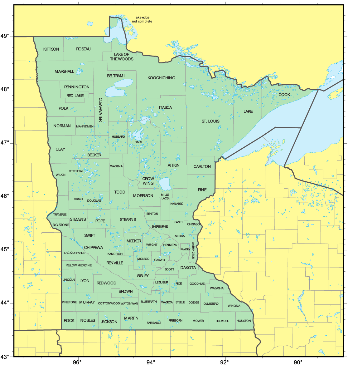 Counties Map Of Minnesota Mapsofnet - County maps of minnesota