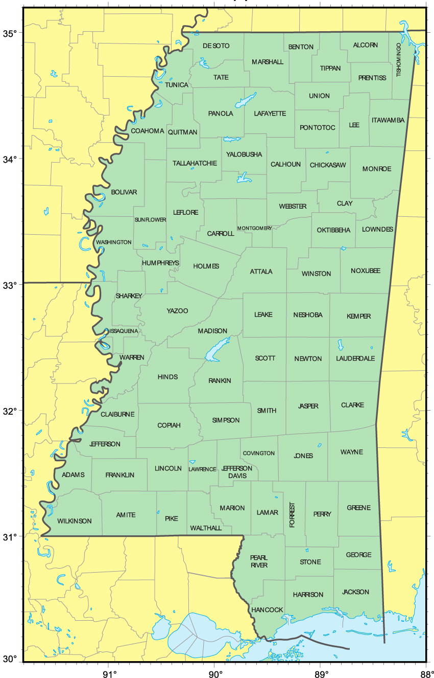 click on the counties map of mississippi . counties map of mississippi • mapsofnet