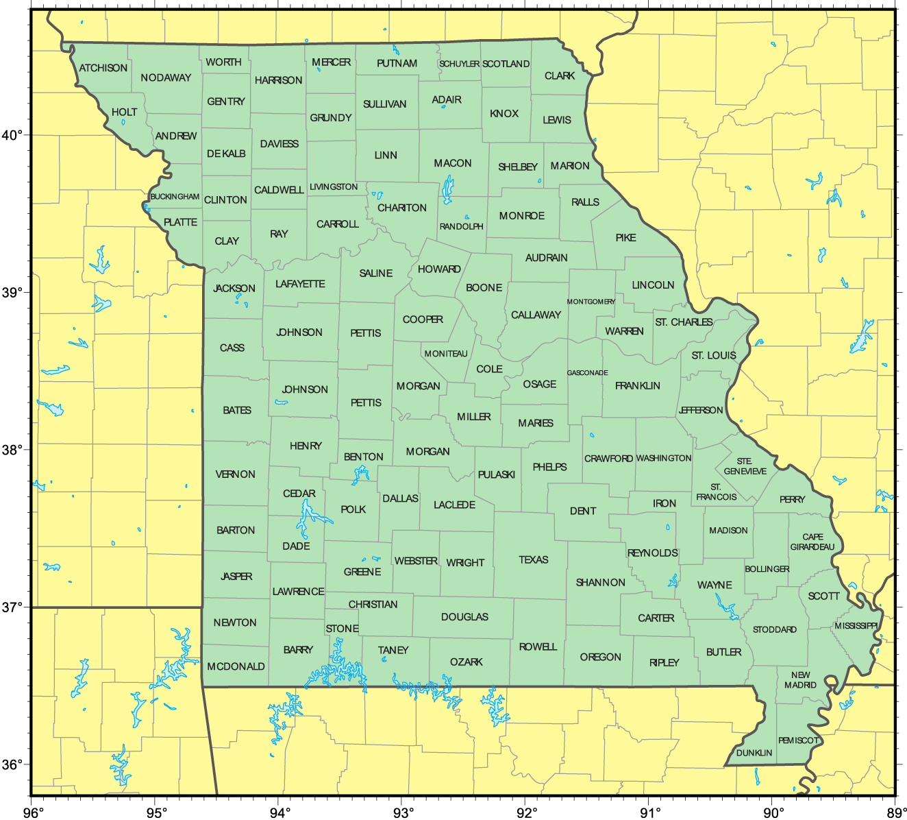 Counties Map Of Missouri Mapsofnet - Map of missiouri