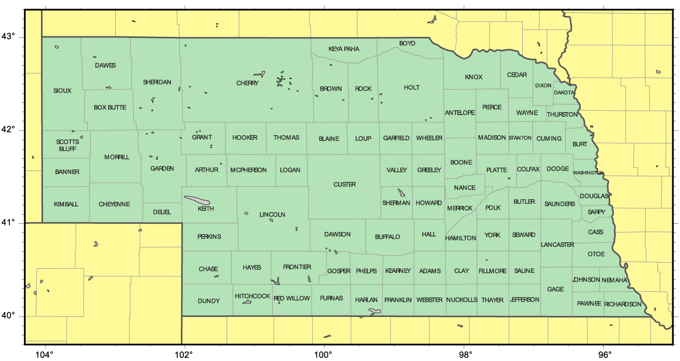 Counties Map Of Nebraska Mapsofnet - Map of nebraska towns