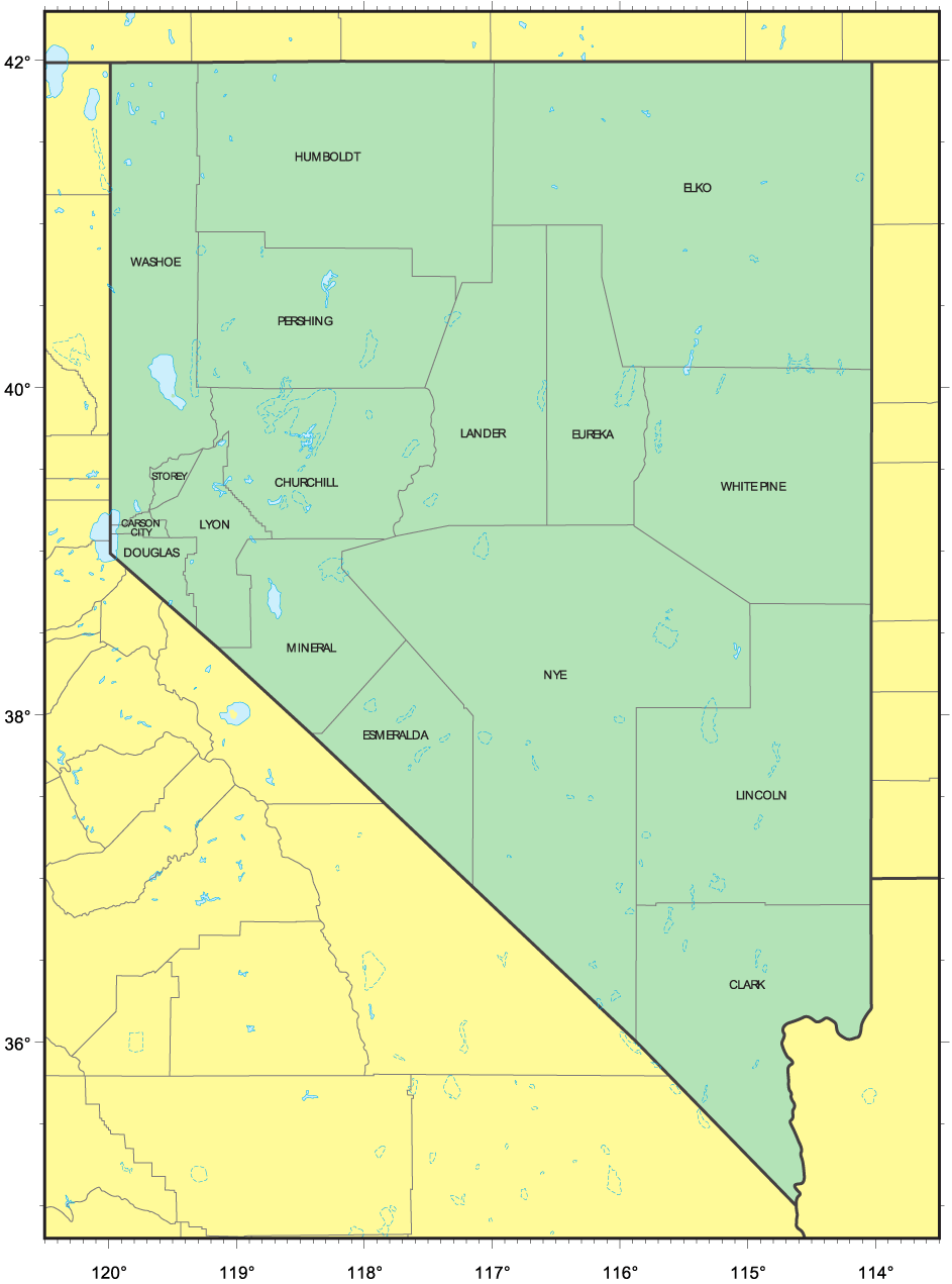 Counties Map of Nevada